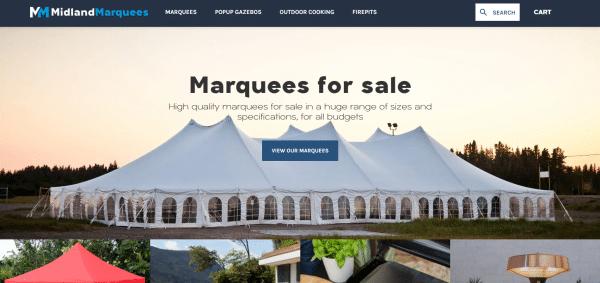 Midland Marquees Ecommerce Website