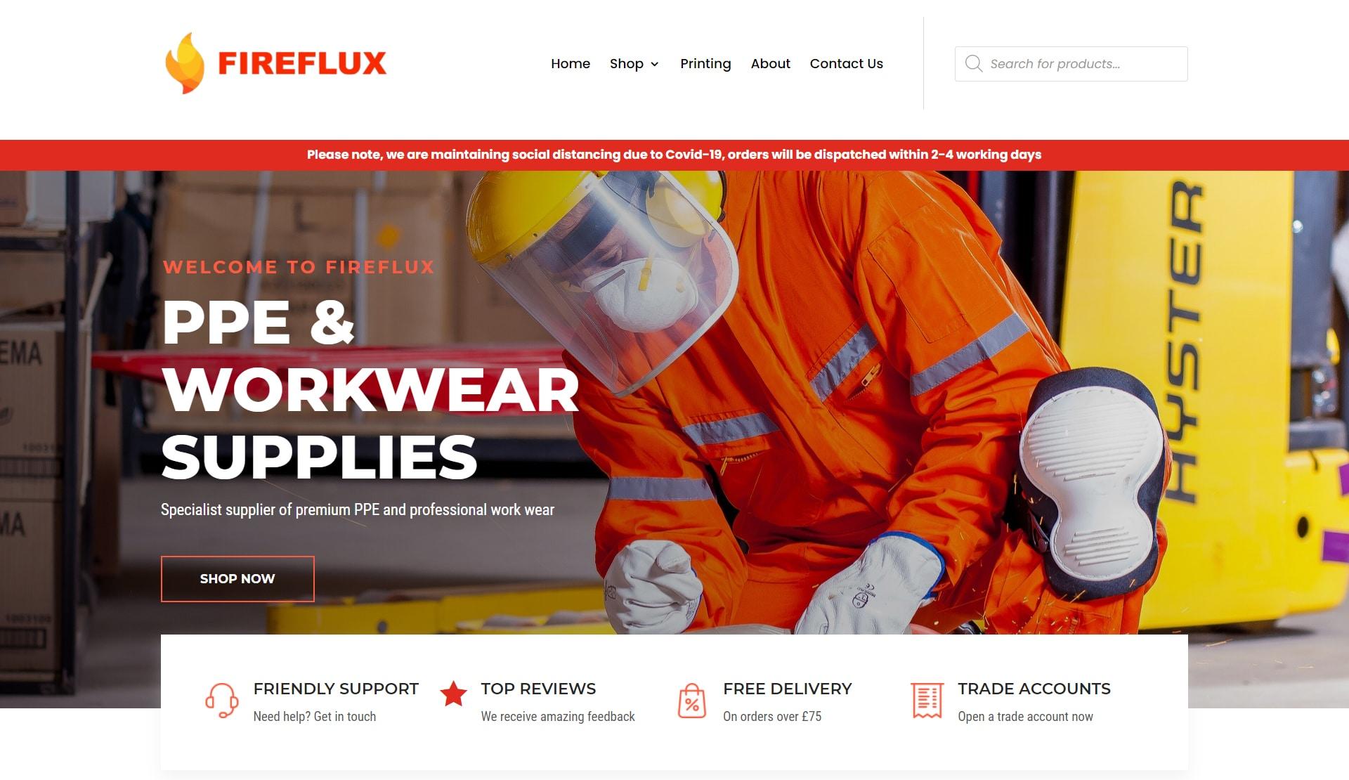 Fireflux Woocommerce website