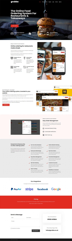 Grubba restaurant ordering web design
