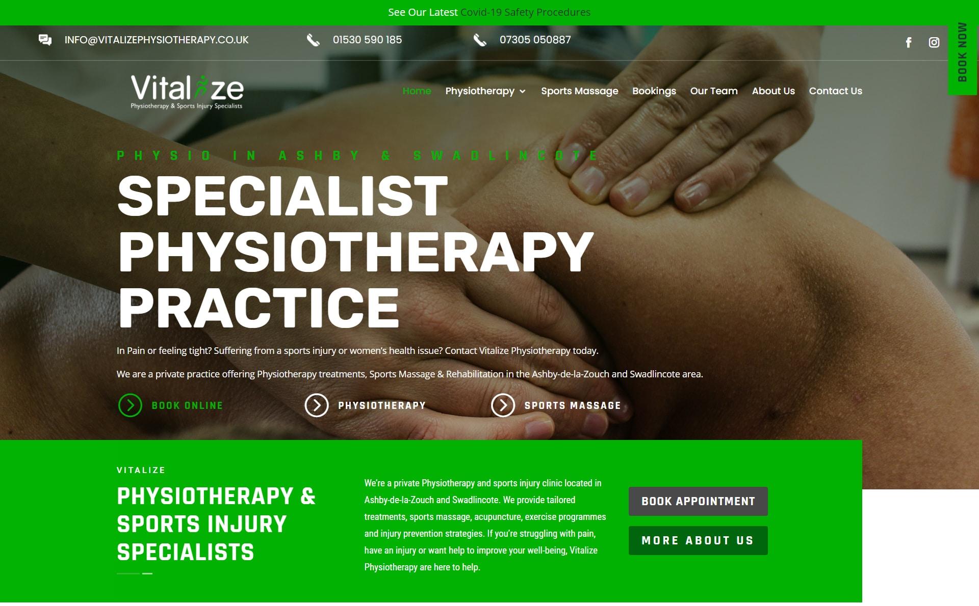 Vitalize Physio Web Design